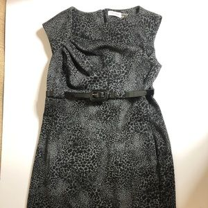 Calvin Klein gray with black leopard print dress